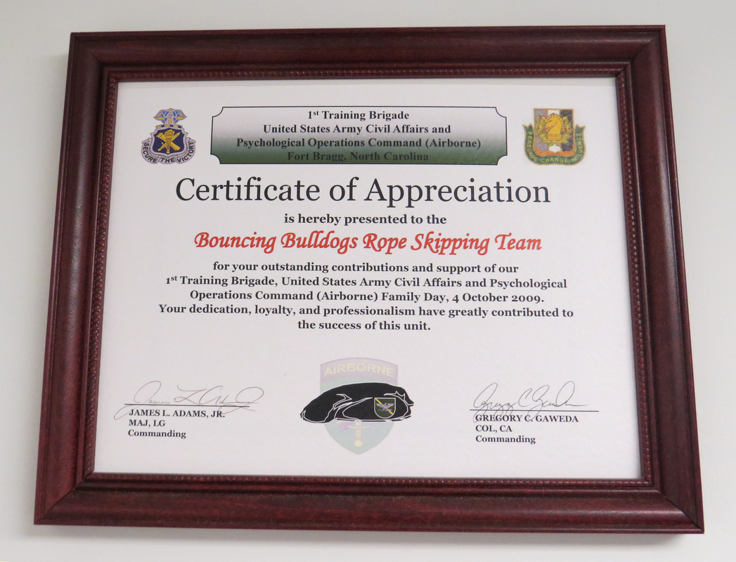 Certificate of Appreciation 1st Training Brigade US Army Civil Affairs and Psychological Operations Command (Airborne)